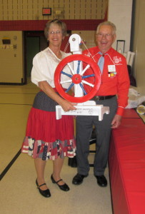 Alice Won Willard's Red, White & Blue Spinning Wheel.