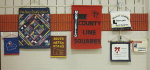 Banners on display.