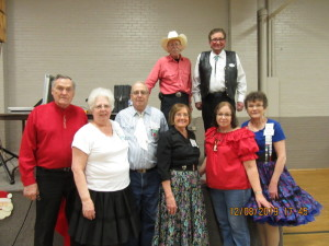 Some of the County Line Squares dancers with Cuer Ken LaBau, and Callers Larry Fruetel and Abe Maier.
