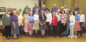 Dancers with Caller Dick Severson (some of the dancers departed before the photo was taken).